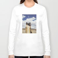 horse Long Sleeve T-shirts featuring Cloudy Horse Head by Kevin Russ
