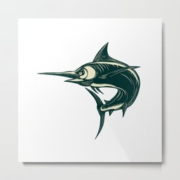 Atlantic Blue Marlin Scraperboard Metal Print