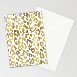 Cheetah Spots (White And Gold) Stationery Cards