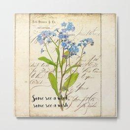 Blue Rustic Flowers Vintage Flower Quote Metal Print