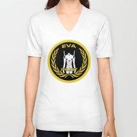 evangelion V-neck T-shirts featuring Evangelion Pilot Logo by Artist Meli