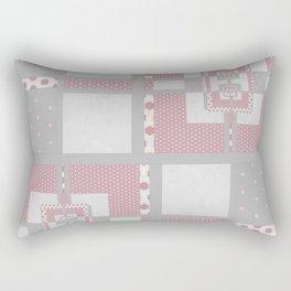 Grey Pink Multi PatchWork Geometrial Pattern Rectangular Pillow