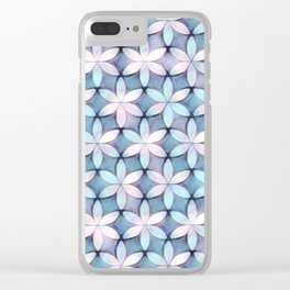 Daisies Aqua White Clear iPhone Case