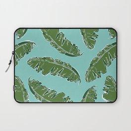 Nouveau Banana Leaf in Aqua Seafoam Laptop Sleeve