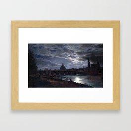 Johan Christian Dahl View of Dresden by Moonlight Framed Art Print