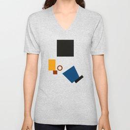 Geometric Abstract Malevic #5 Unisex V-Neck