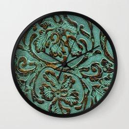 Aqua Flowers Tooled Leather Wall Clock
