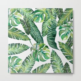 Jungle Leaves, Banana, Monstera #society6 Metal Print