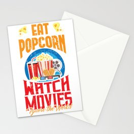 Eat Popcorn Watch Movie Ignore The World Stationery Cards
