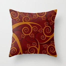Red Swirl Pattern Throw Pillow