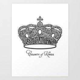 County of Kings | Brooklyn NYC Crown (GREY) Art Print