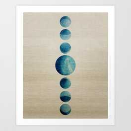 Blue Moon Phases | Abstract Digital Painting over Canvas Art Print