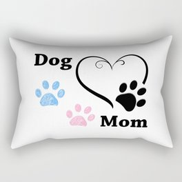 Dog Mom. Pink and blue paw print with hearts. Happy Mother's Day background Rectangular Pillow