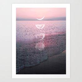 Glitches at Sunset Art Print