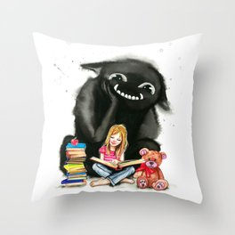 My monster keeps me company Throw Pillow