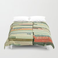 contact Duvet Covers featuring Bookworm by Cassia Beck