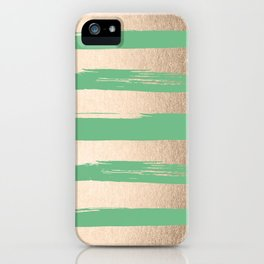 Painted Stripes Gold Tropical Green iPhone Case
