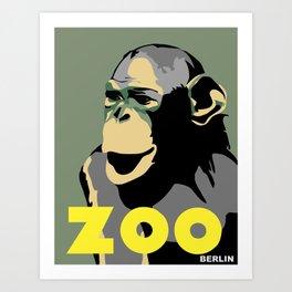 Retro Zoo Berlin monkey travel advertising Art Print