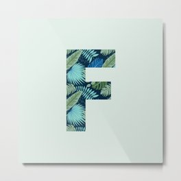 Jungle Palm Trees Initial Monogram Letter F Metal Print