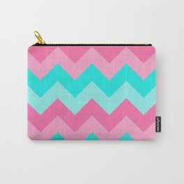 Hot Pink Turquoise Aqua Blue Chevron Zigzag Pattern Print Carry-All Pouch