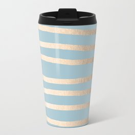 Abstract Drawn Stripes Gold Tropical Ocean Sea Blue Travel Mug