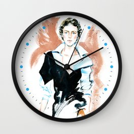 fashion #6. girl in a white shirt and black dress Wall Clock