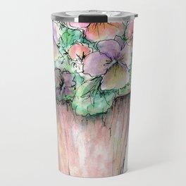 Watercolor Pansies Travel Mug