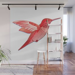 Red hummingbird colibri. Wall Mural