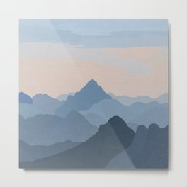 Pastel Sunset over Blue Mountains Metal Print