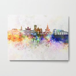 Brampton skyline in watercolor background Metal Print