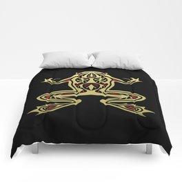 Black and Gold Frog Tribal Digital Art Comforters