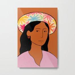 GIRL IN A HAT Metal Print