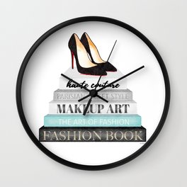 Shoes, Red sole,Books, Fashion books, Gray, Teal, Fashion, Fashion art, fashion poster, fashion wall Wall Clock