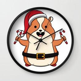 Cute Hamster Merry Christmas Candy Kids Gift Idea Wall Clock