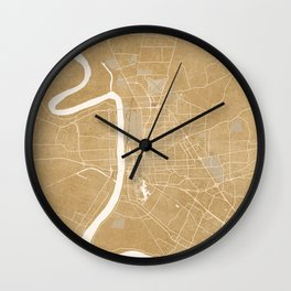 Vintage map of Baton Rouge Louisiana in sepia Wall Clock