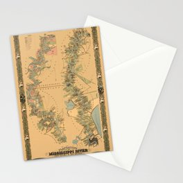 Map of Mississippi River 1858 Stationery Cards