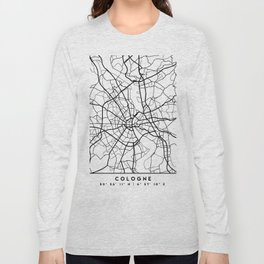 COLOGNE GERMANY BLACK CITY STREET MAP ART Long Sleeve T-shirt