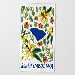 South Carolina + Florals Beach Towel