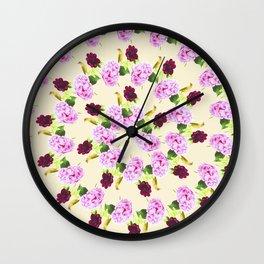 Spiral Pink Hydrangea Red Peony Wren Pattern Wall Clock