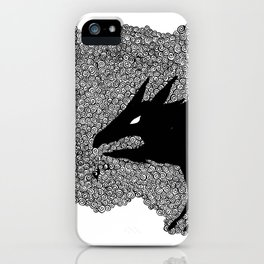 Forground wolf with owl iPhone Case