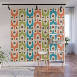Mid Century Modern Abstract Pattern 441 Orange Chartreuse and Turquoise Wall Mural