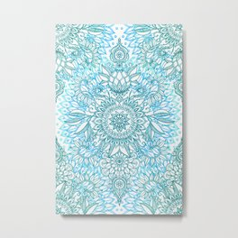 Turquoise Blue, Teal & White Protea Doodle Pattern Metal Print