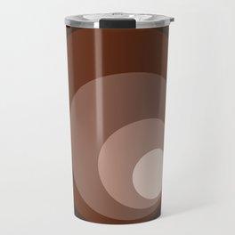 Retro Circles Brown Rust Taupe Cream Travel Mug