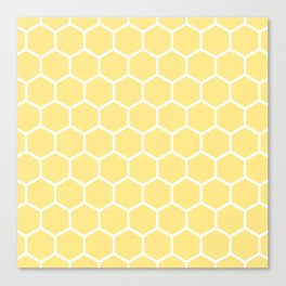 White and yellow honeycomb pattern Canvas Print