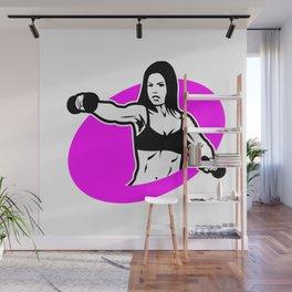 woman  fitness logo Wall Mural