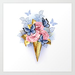 Waffle Cone with Pink Roses Art Print