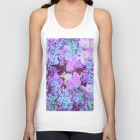shabby chic Tank Tops featuring Roses Bountiful Shabby Chic in Purple and Blue Mosaic  by Saundra Myles