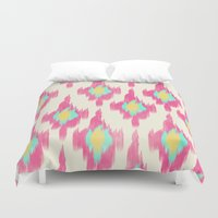 ikat Duvet Covers featuring Pink ikat by Allyson Johnson