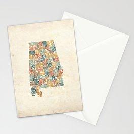 Alabama by County Stationery Cards