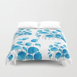 blue poppy field watercolor Duvet Cover